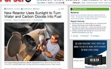 Reator usa raios do sol para transformar água e CO2 em combustível